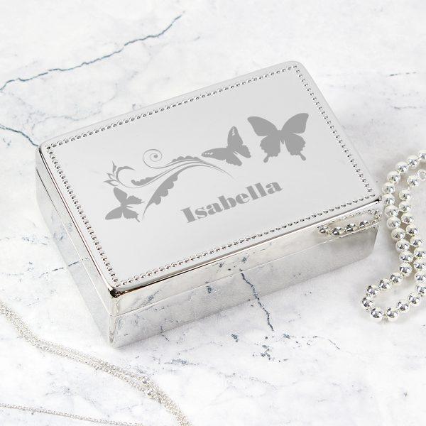 Butterfly Swirl Rectangular Jewellery Box