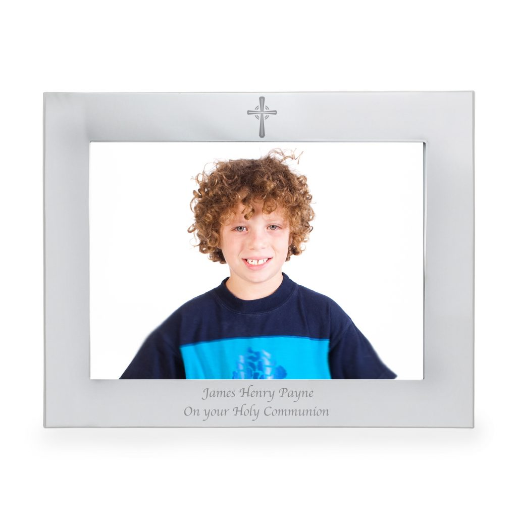 Silver 5x7 Landscape Cross Photo Frame