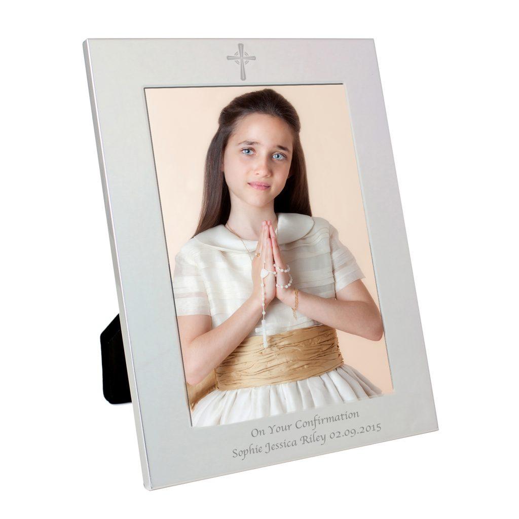Silver 5x7 Cross Photo Frame