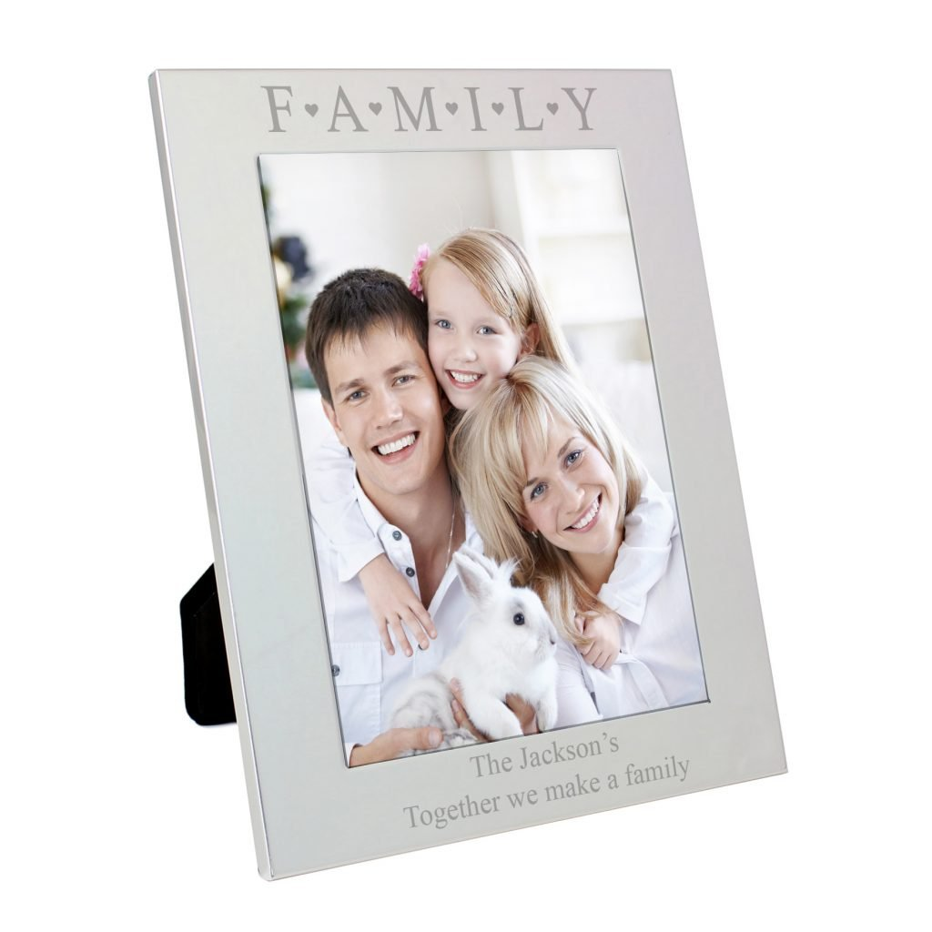 Silver 5x7 Family & Hearts Photo Frame