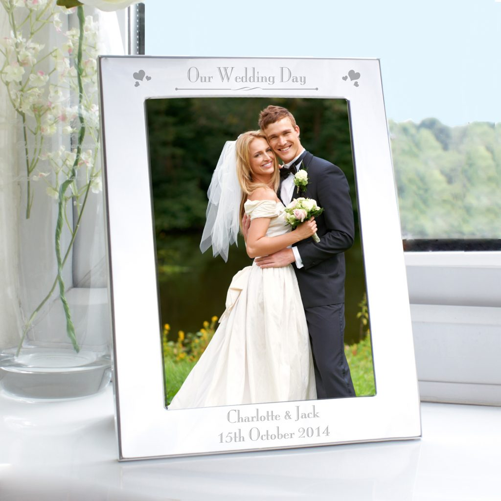 Silver 5x7 Decorative Our Wedding Day Photo Frame