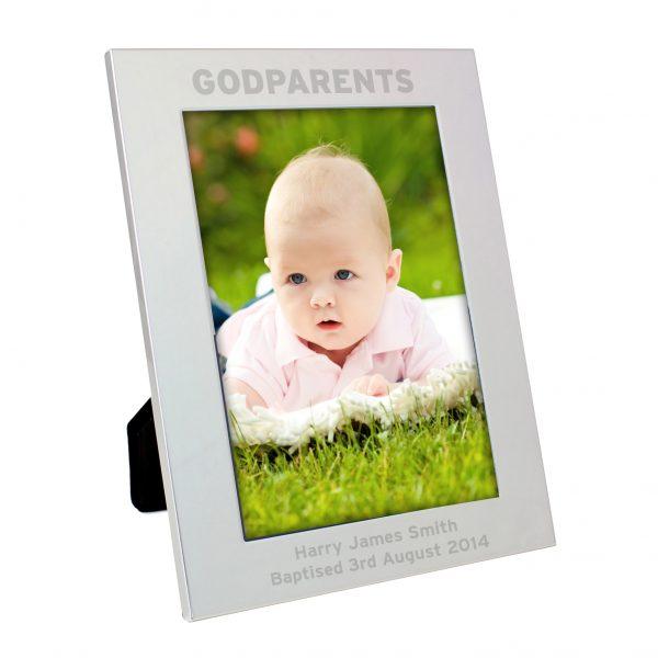 Silver 5x7 Godparents Photo Frame