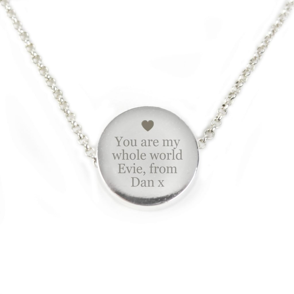 Silver Plated Any Message Disc Necklace