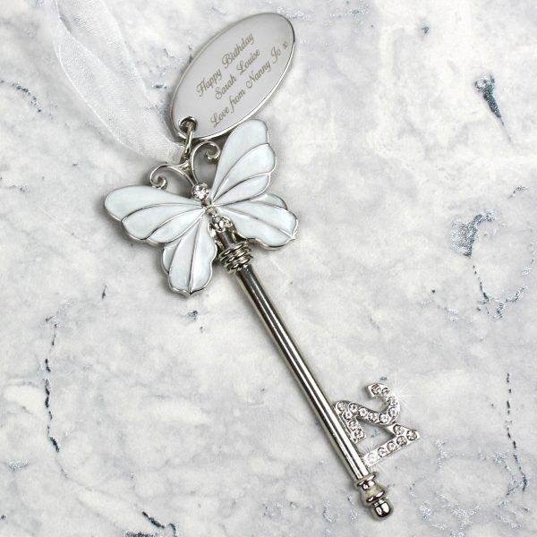 Pink Butterfly 21st Birthday Key