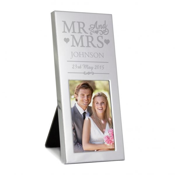 Small Silver Mr & Mrs 2x3 Photo Frame