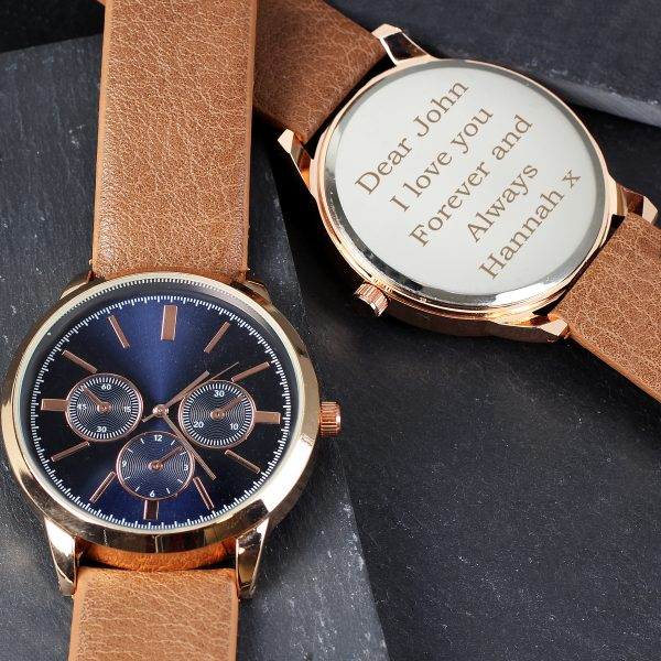 Mens Rose Gold Tone Watch with Brown Strap and Presentation Box