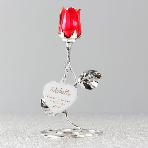 Swirls & Hearts Red Rose Bud Ornament