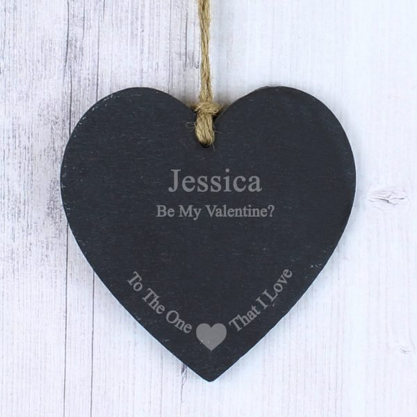 The One I Love Slate Heart Decoration