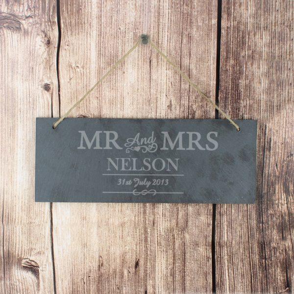 Mr & Mrs Hanging Slate Plaque