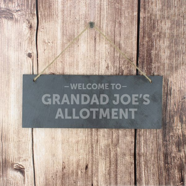 Welcome To... Hanging Slate Plaque