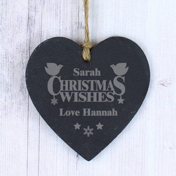 Christmas Wishes Slate Heart