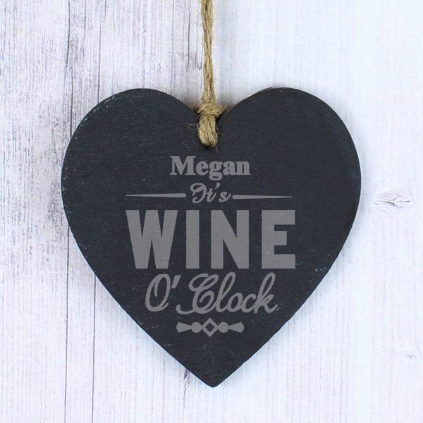 Wine O'Clock Slate Heart