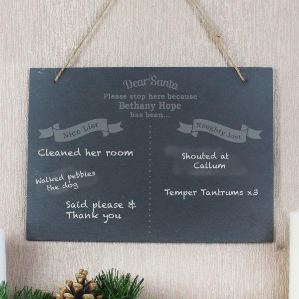 Naughty & Nice Hanging Slate Sign