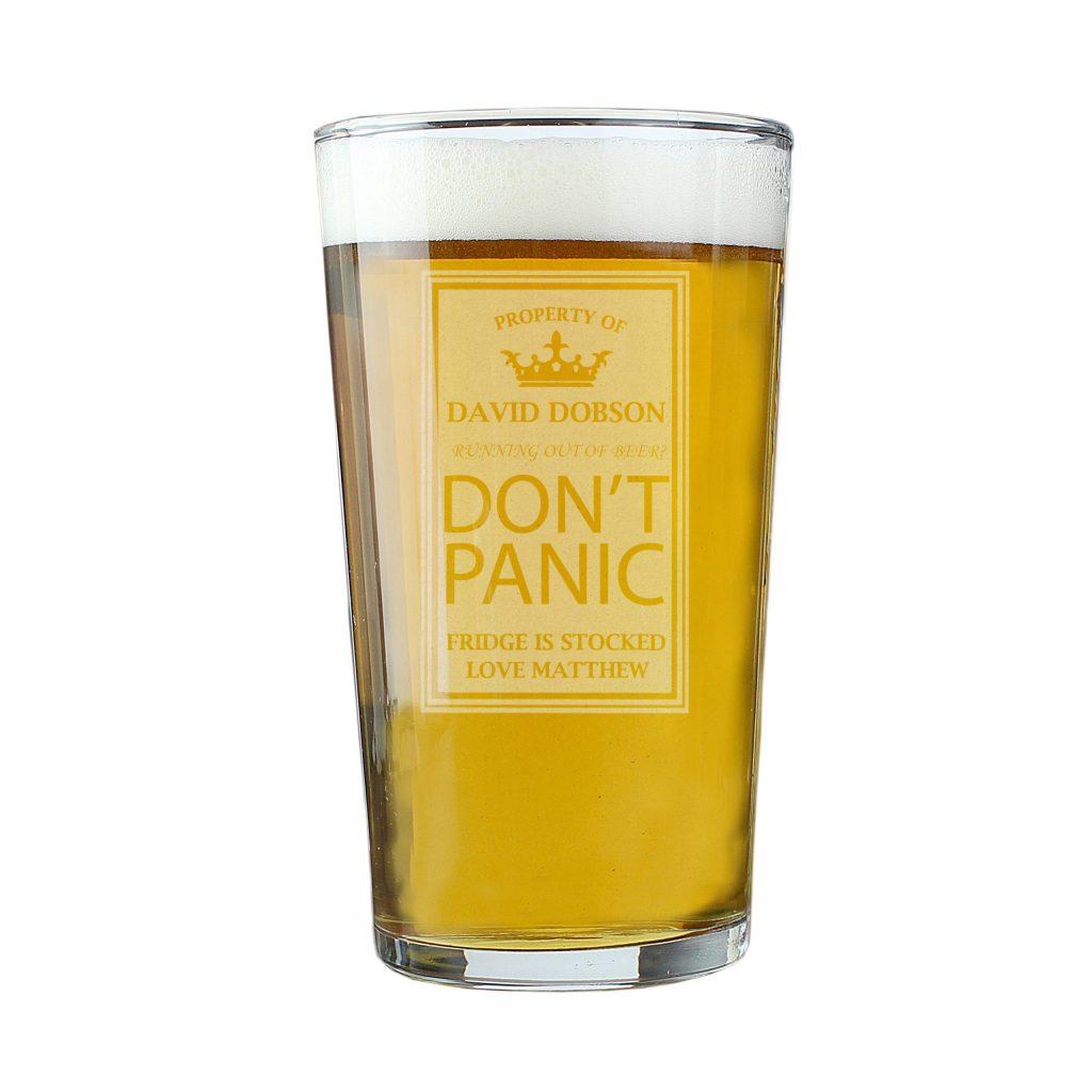 Dont Panic Pint Glass
