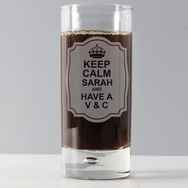 Keep Calm Hi Ball Bubble Glass