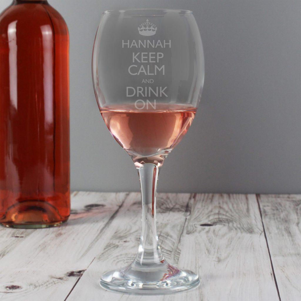 Keep Calm Engraved Wine Glass