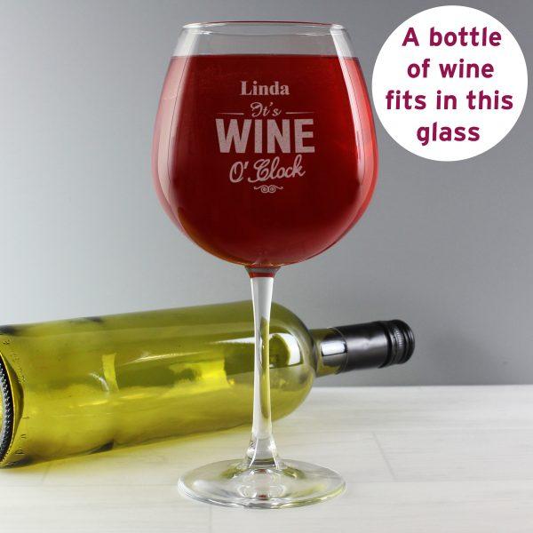 Wine O Clock Bottle of Wine Glass