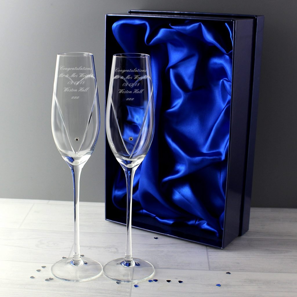 Hand Cut Heart Pair of Flutes with Swarovski Elements with Gift Box