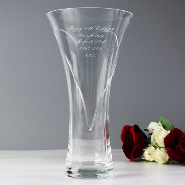 Large Hand Cut Diamante Heart Vase with Swarovski Elements