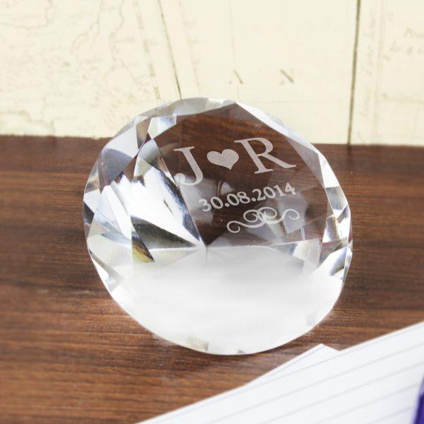 Initials Diamond Paperweight