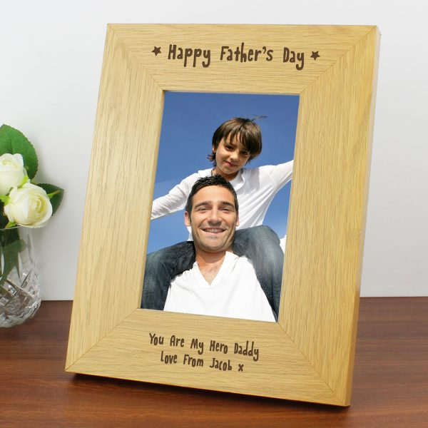 6x4 Happy Fathers Day Wooden Photo Frame