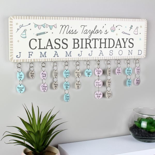 Classroom Office Birthday Planner Plaque with Customisable Discs