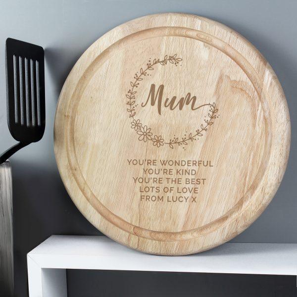 Mum Round Wooden Chopping Heart