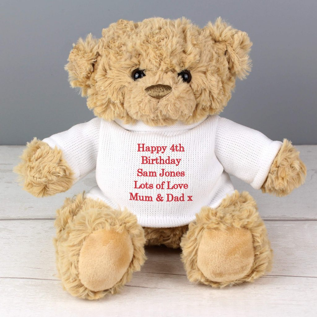 Teddy Message Bear in White and Red Jumper