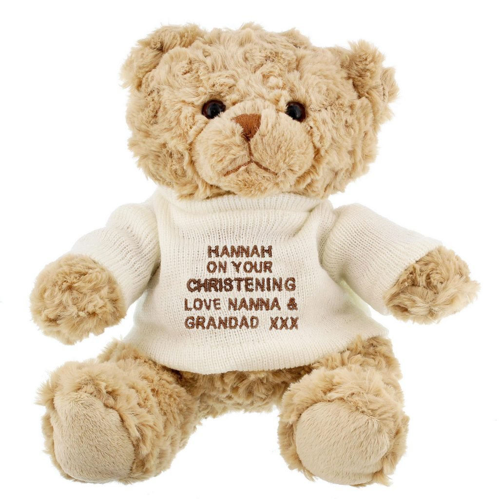 Personalised Message Teddy Bear - White & Grey