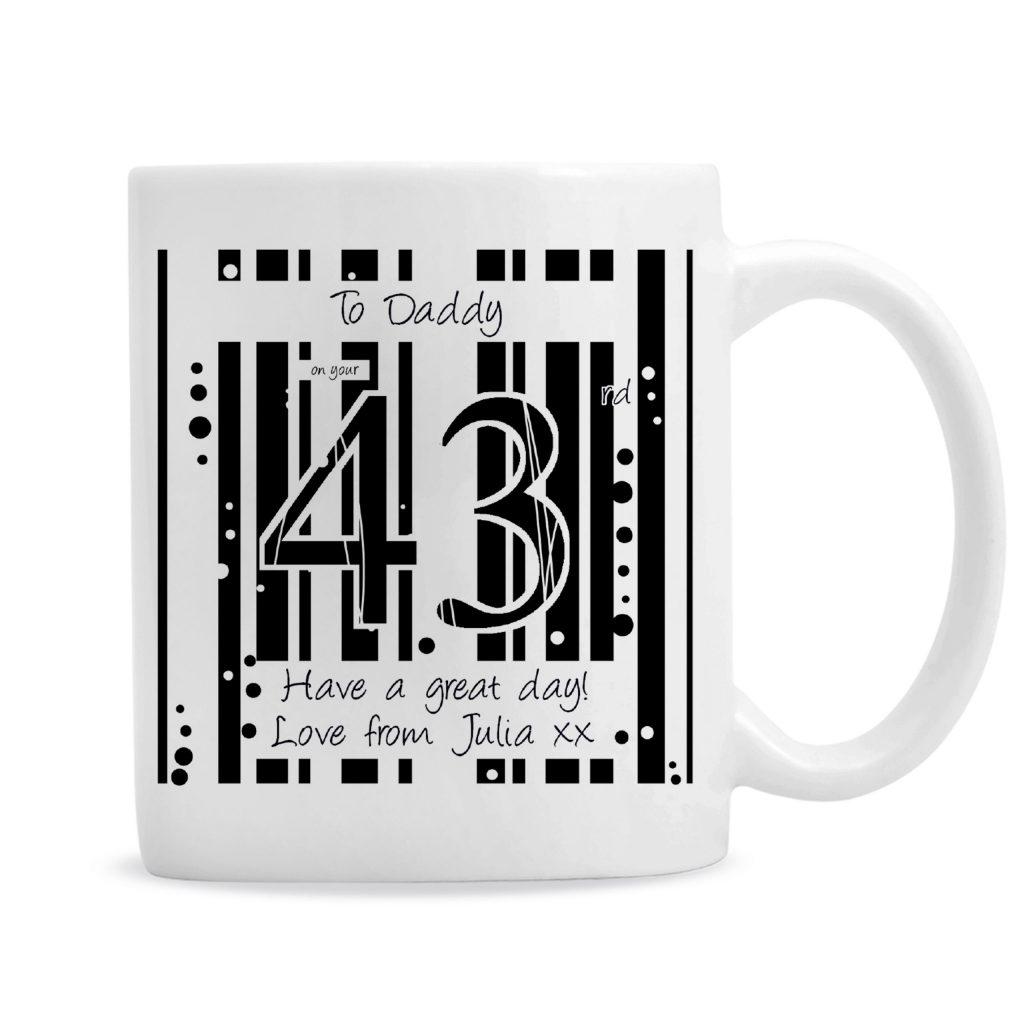 Black & White Happy Birthday Slim Mug