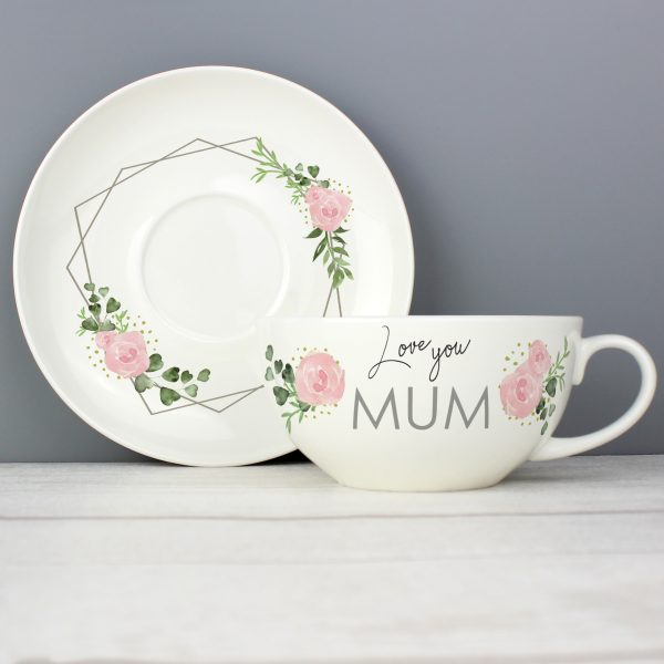 Abstract Rose Teacup & Saucer