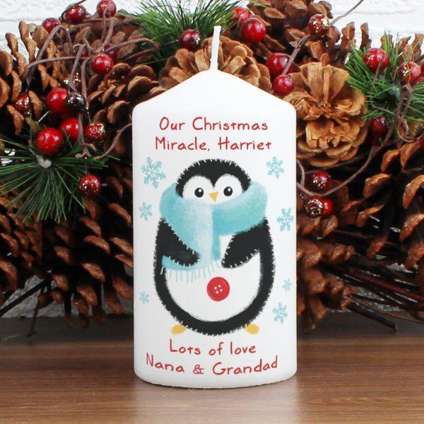 Felt Stitch Penguin Candle