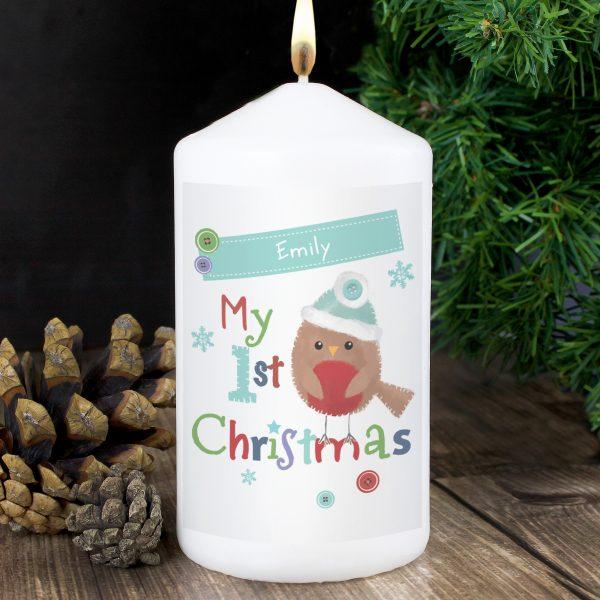 Felt Stitch Robin 'My 1st Christmas' Candle