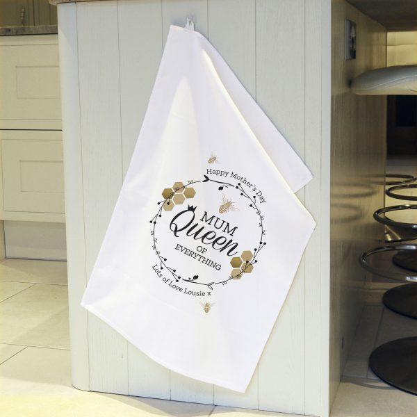 Queen Bee White Tea Towel