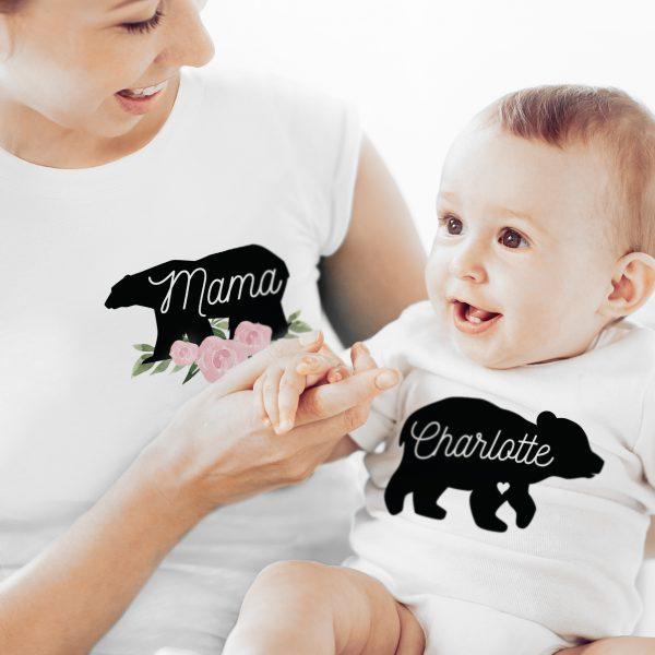 Mother & Baby Mama Bear T-Shirt And Vest Set (Medium & 0-3mths)