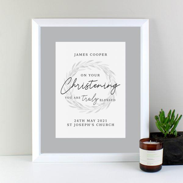 Truly Blessed' Christening White Framed Print