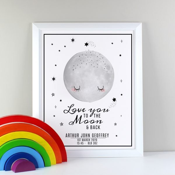 Personalised Baby To The Moon and Back White Framed Print
