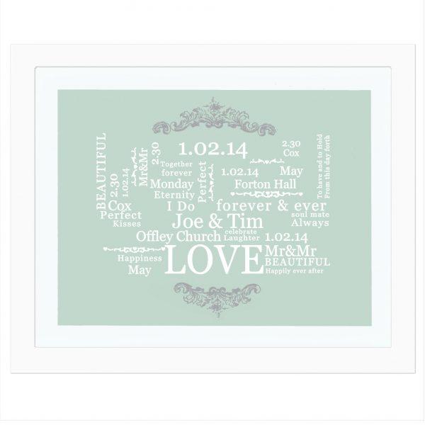 Wedding Typographic Art Poster White Frame
