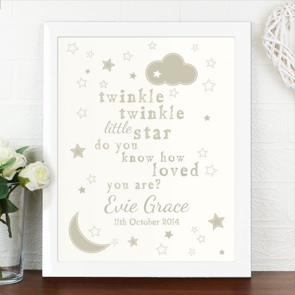 Twinkle Twinkle Poster White Frame
