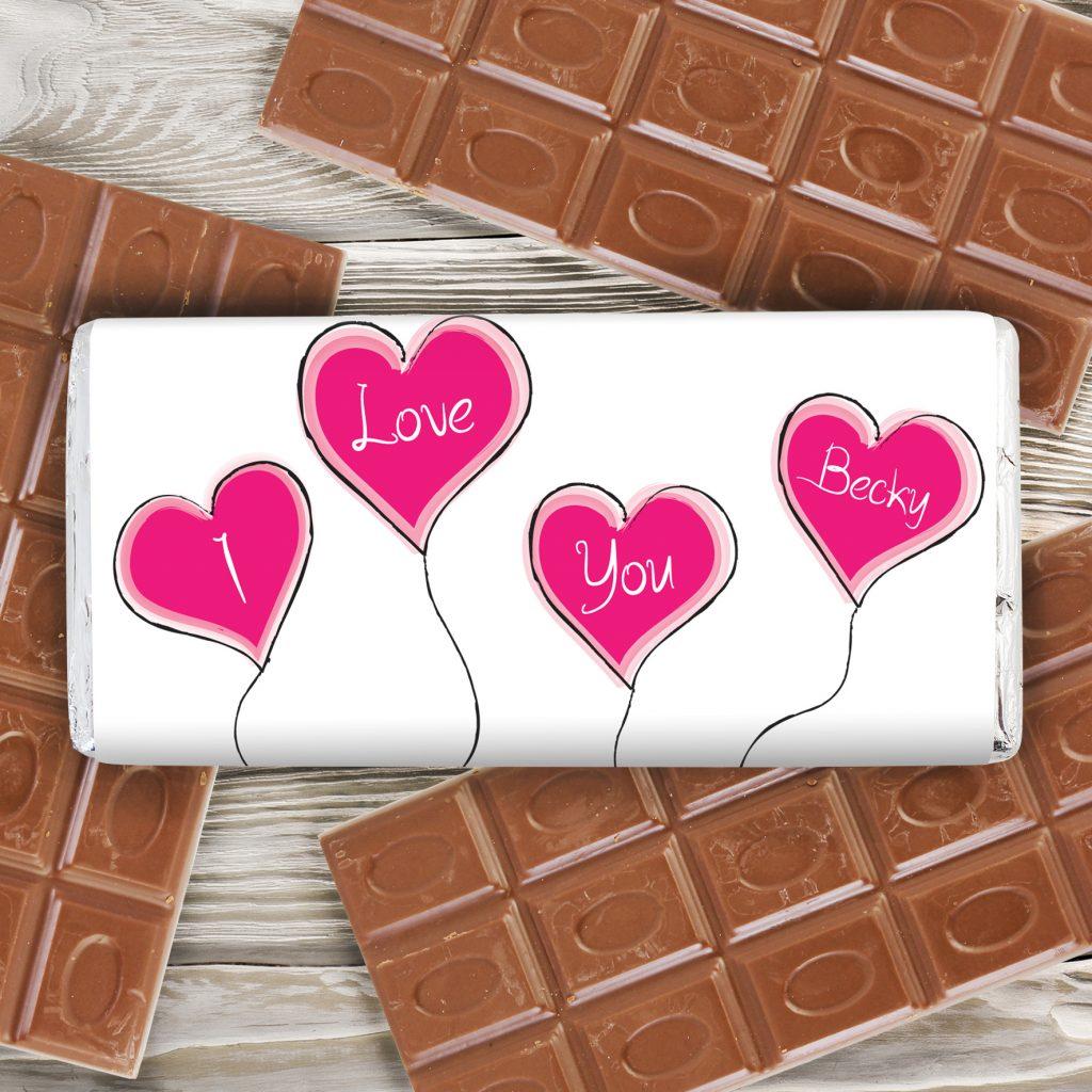 Heart Balloon Milk Chocolate Bar