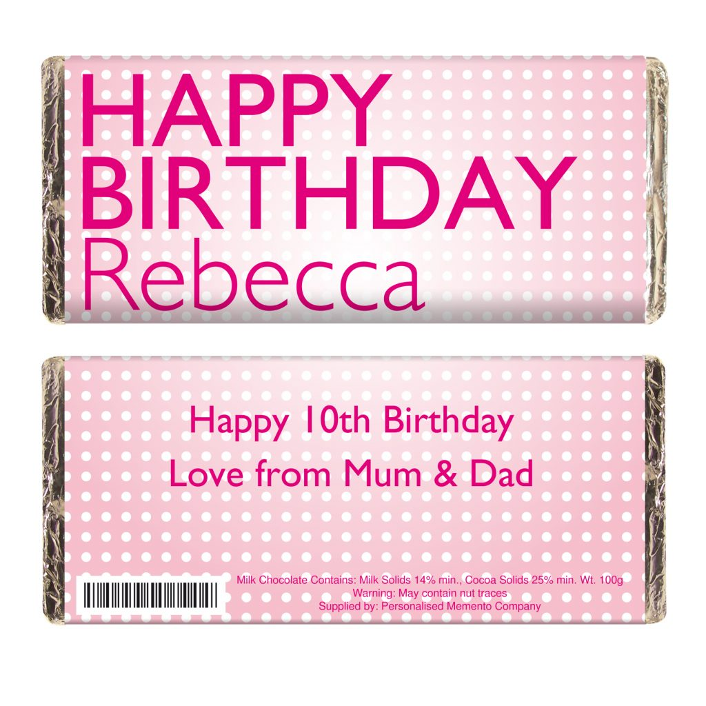 Happy Birthday Pink Dots Milk Chocolate Bar