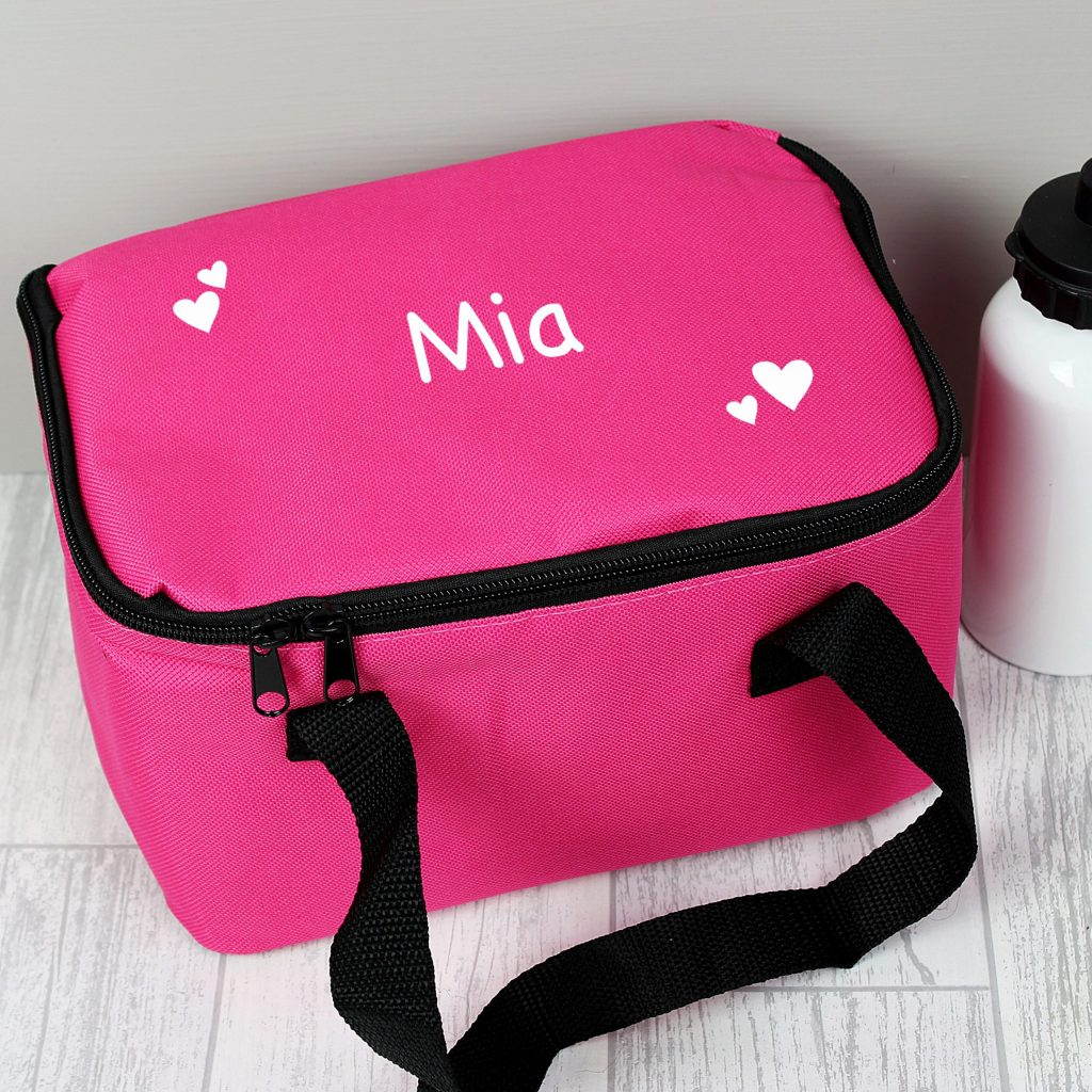 White Hearts Pink Lunch Bag