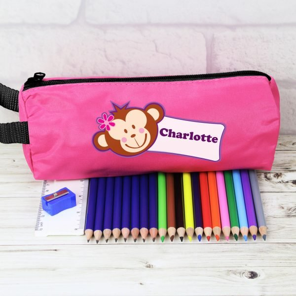 Pink Monkey Pencil Case with Pencils & Crayons