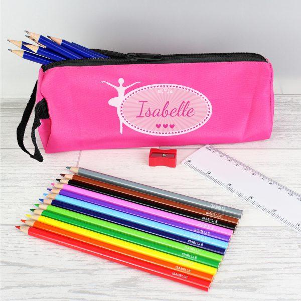 Pink Ballerina Pencil Case with Pencils & Crayons