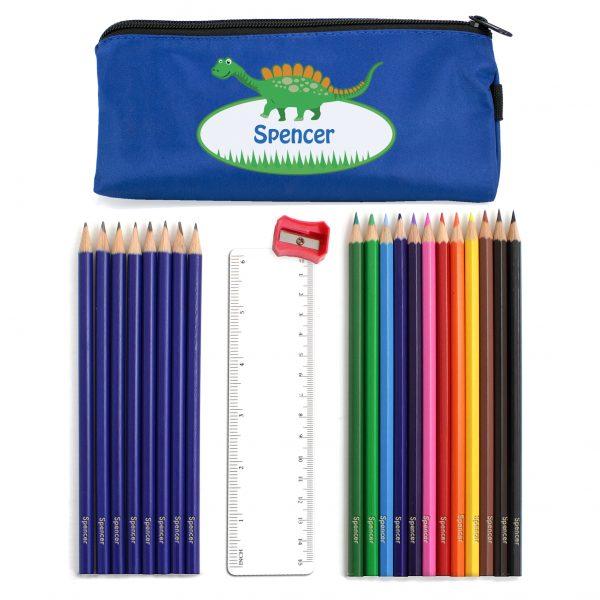 Blue Dinosaur Pencil Case with Pencils & Crayons
