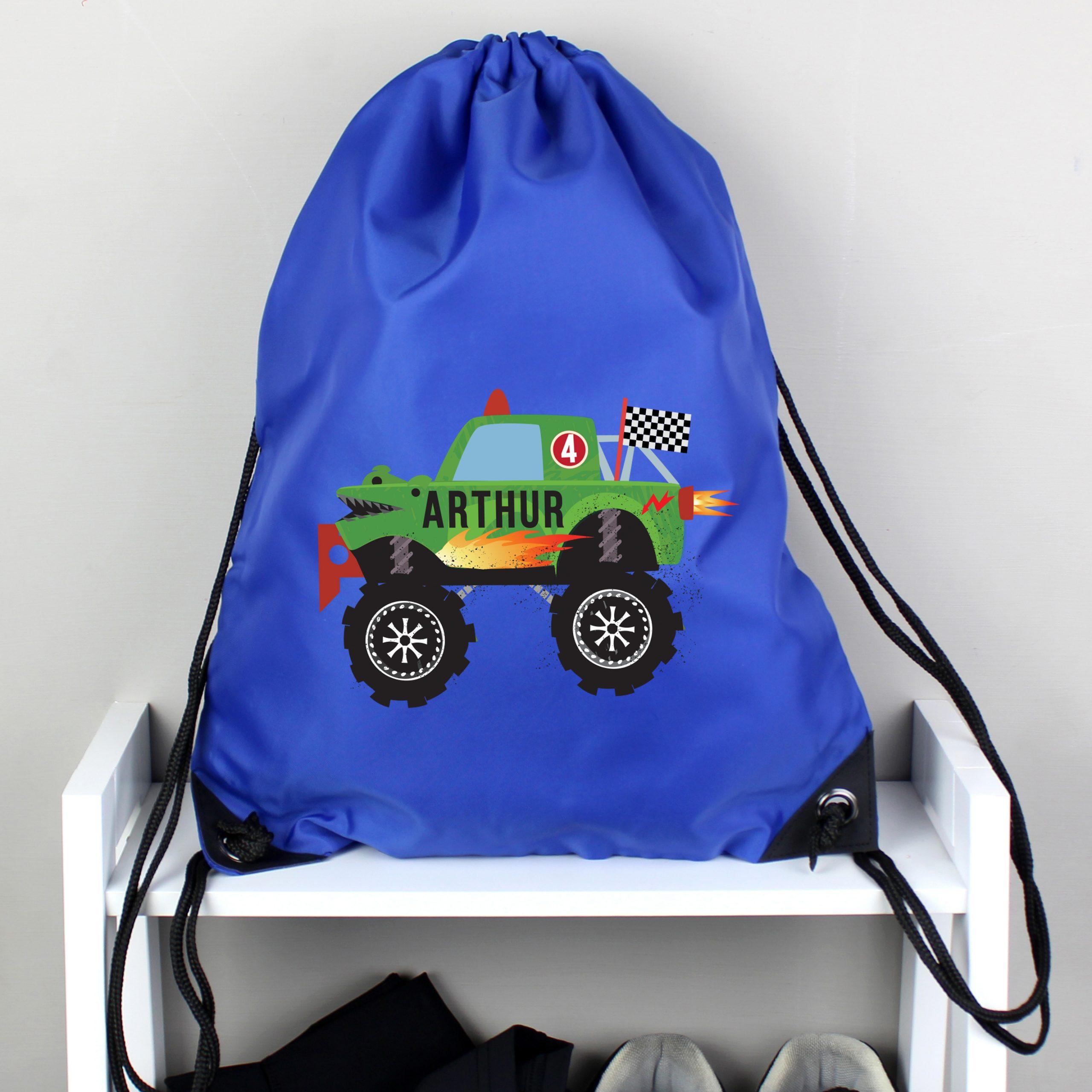 Personalised Monster Truck Blue Kit Bag