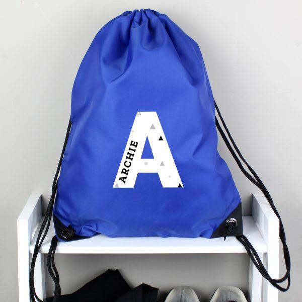 Personalised Initial Blue Kit Bag