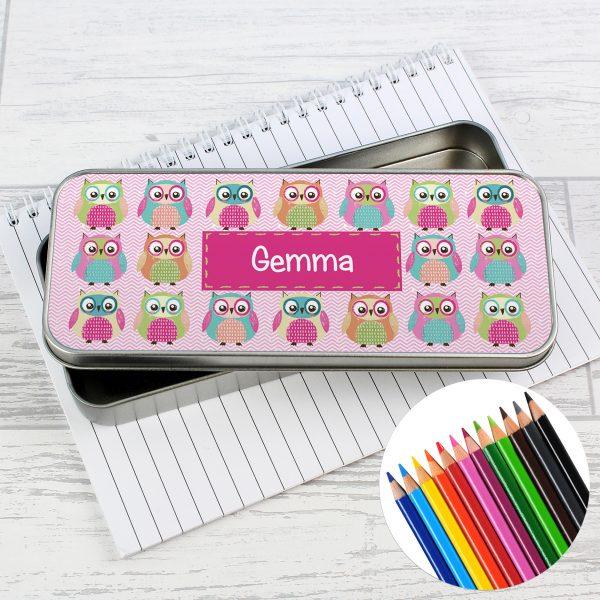Summer Owl Pencil Tin with Pencil Crayons