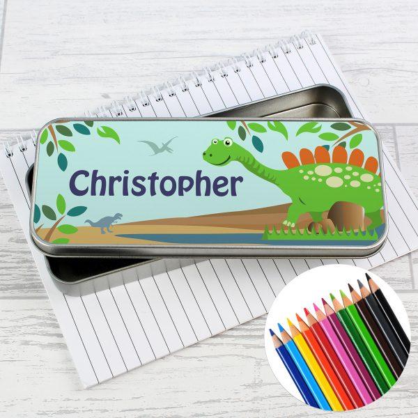 Dinosaur Pencil Tin with Pencil Crayons