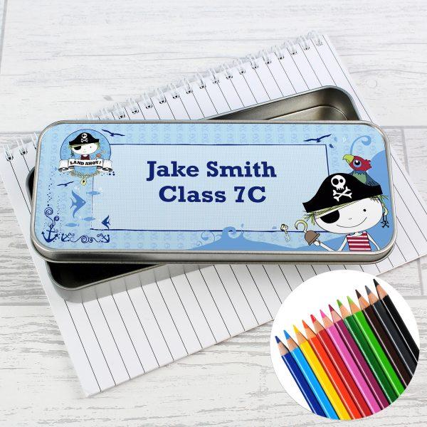 Pirate Pencil Tin with Pencil Crayons